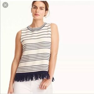 J. Crew sleeveless boatneck fringe bottom sweater